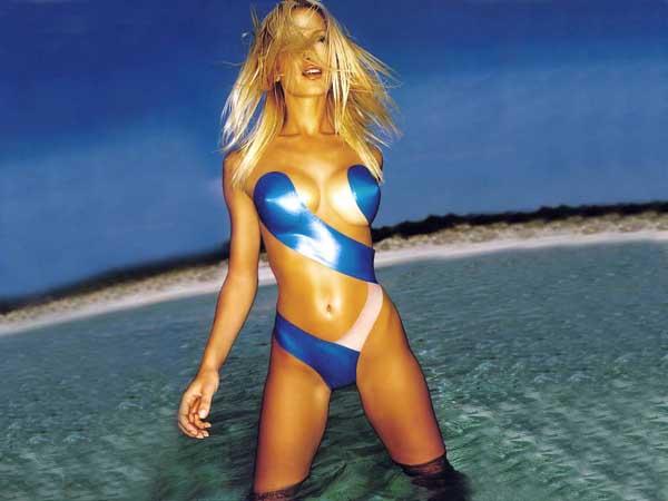 blue bikini body painting