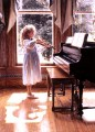 little girl by piano