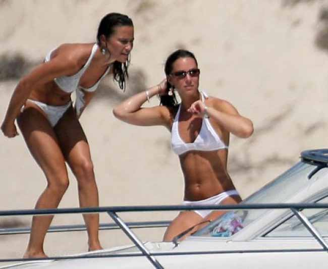 Pippa and Kate Middleton white bikini